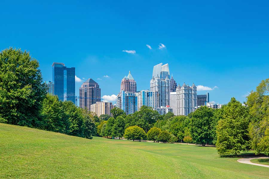 Atlanta skyline from the view of a park